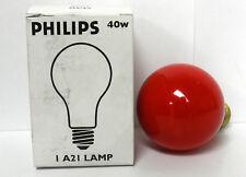 Philips Red Light Bulb 40 Watt 120 Volt Incandescent A21