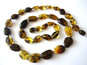 Genuine Baltic Amber  NECKLACES - Oval Beads - Choose your color. 22. inch.56cm