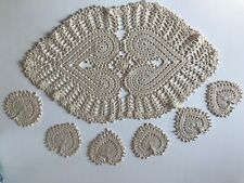 hand crocheted tea table runner and 6 coasters heart shaped cream beige