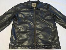 Vintage Red Camel Black Faux Leather Zip Up Fleece Lined Coat Jacket Mens M Med