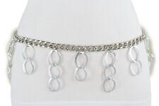 Women Silver Metal Chain Link Fashion Belt Waistband Dangle Ring Charms Xs S M