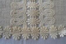"Vintage Linen Schiffli Lace Table Runner Cream Mid Century 33"""