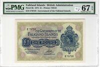 Falkland Islands PMG Certified Banknote 1974 1 Pound UNC 67 EPQ Superb Gem 8b