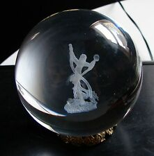 NEW 3-D LASER ETCHED ROUND CRYSTAL GLASS BALL WIZARD 80MM 3 INCH WITH STAND