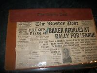 THE BOSTON POST NEWSPAPER OCTOBER 9 1920 WITH HOLDER.