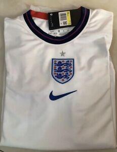 "EURO 2020 ENGLAND WHITE FOOTBALL SHIRT 2021 NIKE DRI-FIT SIZE ""LARGE"""