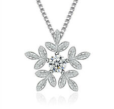 Snowflake Leaf Pendant 925 Sterling Silver Necklace Womens Jewellery Valentine