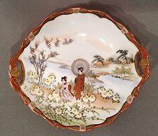 "Hand Painted Vintage Nippon, 7 1/4"" Bowl Gold Moriage Geishas, Garden, Bridge"