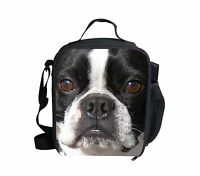 Dog Boston Terrier Cooler Thermal Bento Box Lunch Bag Picnic School for Boy Kids