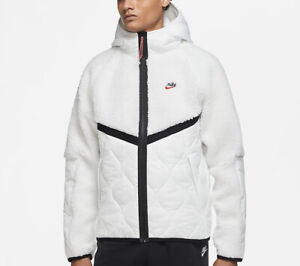 Nike Sportswear Heritage Sherpa Full Zip Jacket White CU4446-121 Men's Large L