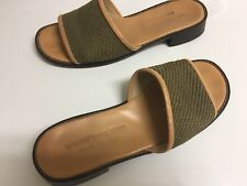 STUBBS & WOOTTON NATURAL WOVEN AND LEATHER TRIMMED OPEN SLIDE SANDAL 7 ITALY