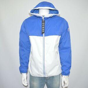 NWT GUESS Full Zip Colorblocked Hooded Windbreaker Jacket Sz L Blue White