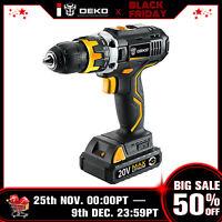 "DEKO 20V 1.5AH MAX Li-Ion 1/2"" Cordless 2-Speed Drill Driver Power Tool"
