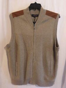 Roundtree & Yorke Men Full Zip Sweater Vest Sz XL Beige Suede Shoulder NWT