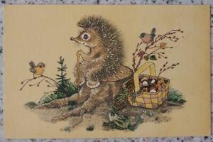 1968 SOVIET POSTCARD hedgehog mushrooms frog birds I AM TIRED Golubev an 238a