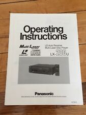 MANUAL for PANASONIC  Lx-200u Laserdisc / CD Player