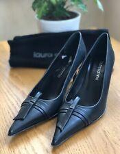 Nuevos Zapatos de piel Laura Camino 37 Reino Unido 4 Oscuro Azul Negro Puntiagudo Tribunal formal
