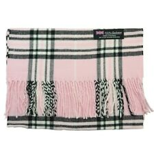 Men Women 100% CASHMERE Scarf tartan Plaid Design Soft MADE IN SCOTLAND Light Pk