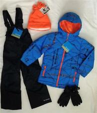 New COLUMBIA Boys 6/7 Winter Jacket, Ski/Snow Bib Pants,Gloves,Hat Set Blue $200