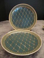 """Oriental Accent 2 Decorative Plates Encrusted Gold Green 10 1/8"""" Wide Very Heavy"""