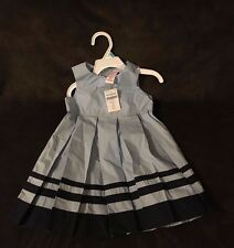 NEW WITH TAGS GYMBOREE 12-18 MOS BLUE AND DARK BLUE PLEATED PARIS DRESS
