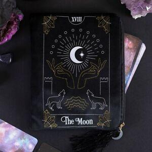 The Moon Black Velvet Tarot Card Bag  zippered wolf oracle Crystal Divination