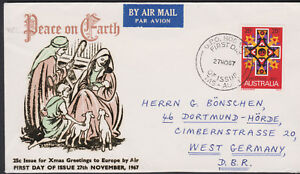 1967 Australia 25c Christmas FDC Air Mail Cover to West Germany