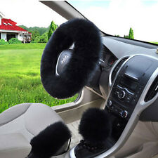 Universal Sheepskin Long Plush Wool Auto Car Fuzzy Steering Wheel Cover Black #X