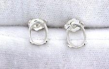 Sterling 6x4 6mm x 4mm Oval Cab Cabochon Gemstone Gem Stone Earring Mounting