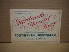 Gardiner'S Special 13 Oz. Pre Pro Beer Label-Continental Brg.,Philadephia,Pa