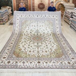 Handmade Silk Traditional Area Carpet 9x12ft Hand Knotted Contemporary Rug 233B