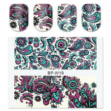 Nail Art Water Decals Transfer Stickers Blooming Flower Tips W19 2x BORN PRETTY