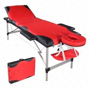 "84""L Massage Table 3 Fold Portable Aluminum Facial SPA Bed Free Carry Case Red"