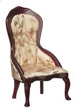 Dolls House Victorian Mahogany Gold Ladies Chair Armchair Living Room Furniture