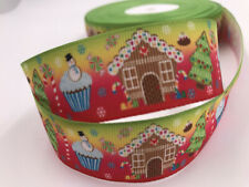 DIY 5 Yard 1''25mm Christmas tree House Grosgrain Ribbon Hair Bow Sewing Ribbon
