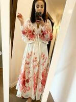 H&M HM SS2020 TREND LONG CHIFFON RED AND WHITE FLORAL DRESS * MEDIUM*