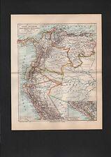Mapa Map 1899: perú, ecuador, colombia y Venezuela.