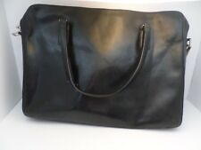 Monsac beautiful leather laptop cross body bag briefcase black all leather
