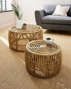 Home Furniture Set of 2 Nesting Rustic Natural Rattan Nest Coffee and Side Table