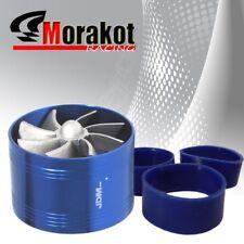 "3"" Tornado Turbonator Motor Intake Single Fan Gas Fuel Saver Supercharger Blue"