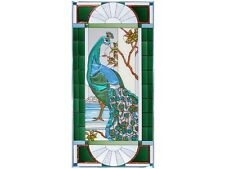 42x20  PEACOCK Tropical Stained Art Glass Window Panel Suncatcher