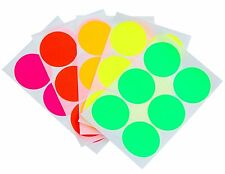 "Round 2"" Neon Fluorescent Color Stickers 50mm Write On Surface For Jars 60 Pack"