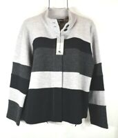 Karl Lagerfeld Paris L Gray Black Color-Block Wool Cardigan Jacket NWT