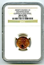 2003 P CANADA CENT NGC MS67 CROWNED BUST OLD EFFIGY COPPER PLATED STEEL TOP 18