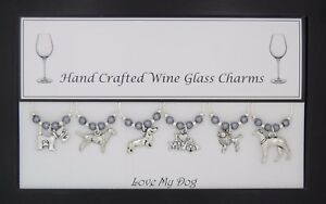 Love My Dog Set of 6 Wine Glass Charms Handmade Just for You