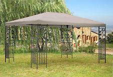 Garten-Pavillon Blätter 3x4m Grau  Partyzelt Carport Gartenzelt Gazebo NEU & OVP
