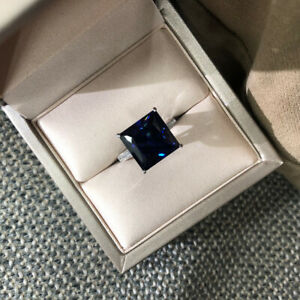 4Ct Princess Cut Blue Sapphire Solitaire Engagement Ring 14K White Gold Finish
