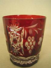 AJKA MARSALA Cut to Clear Ruby Red Crystal Whiskey Glass Tumbler