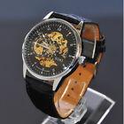 Classic Skeleton SOKI Black Mens Automatic Mechanical Wrist Leather Band Watch