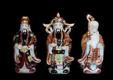 3 SAGES CHINOIS  FUK LUK SAU FU LU SHOU  EN PORCELAINE DE CHINE 5646 X12